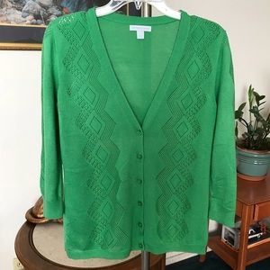New York & Co. Womens Green Cardigan Size Large
